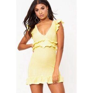 Prettylittlething Yellow Gingham Bodycon Dress